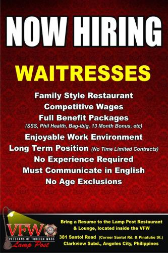 Hospitality - Job Vacancies - Philippines - Angeles City Classified